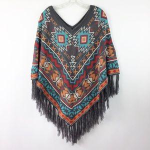 Sweaters - Aztec pattern Fringe Poncho One Size